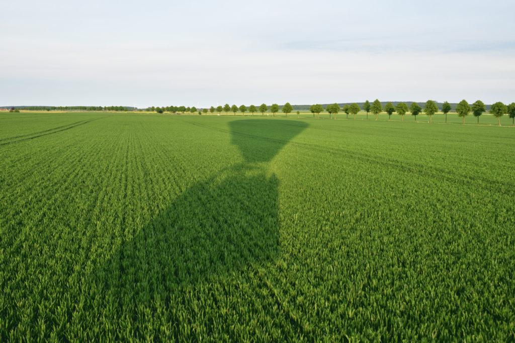 Ballonfahrt über den Feldern