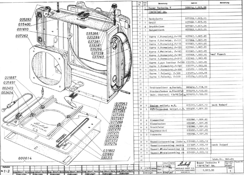 Stückliste parts linhof technika 5x7