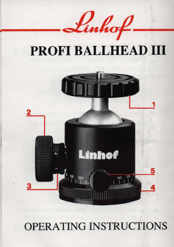 Linhof profi ballhead kugelkopf anleitung operation instruction guide