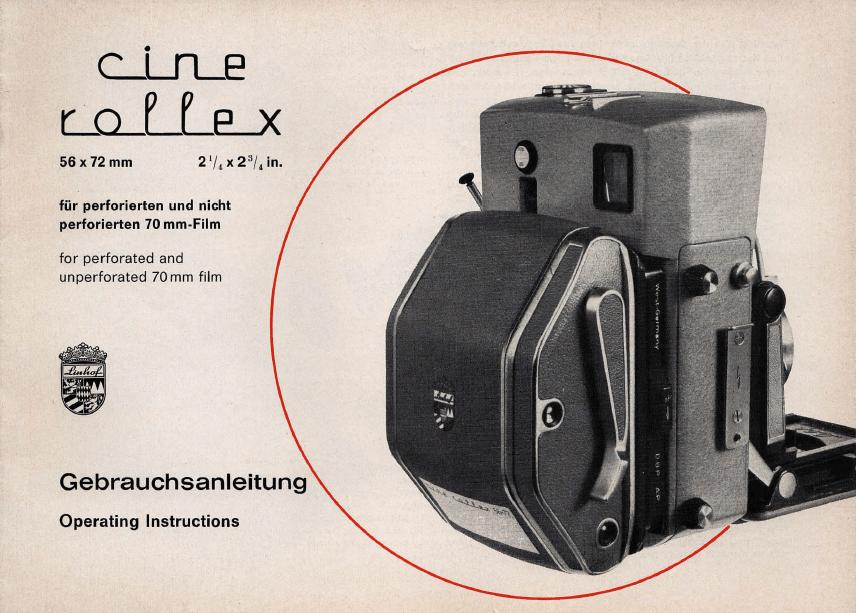 Linhof Cine Rollex Gebrauchsanleitung Operations Instructions (Deutsch/English / 1967)