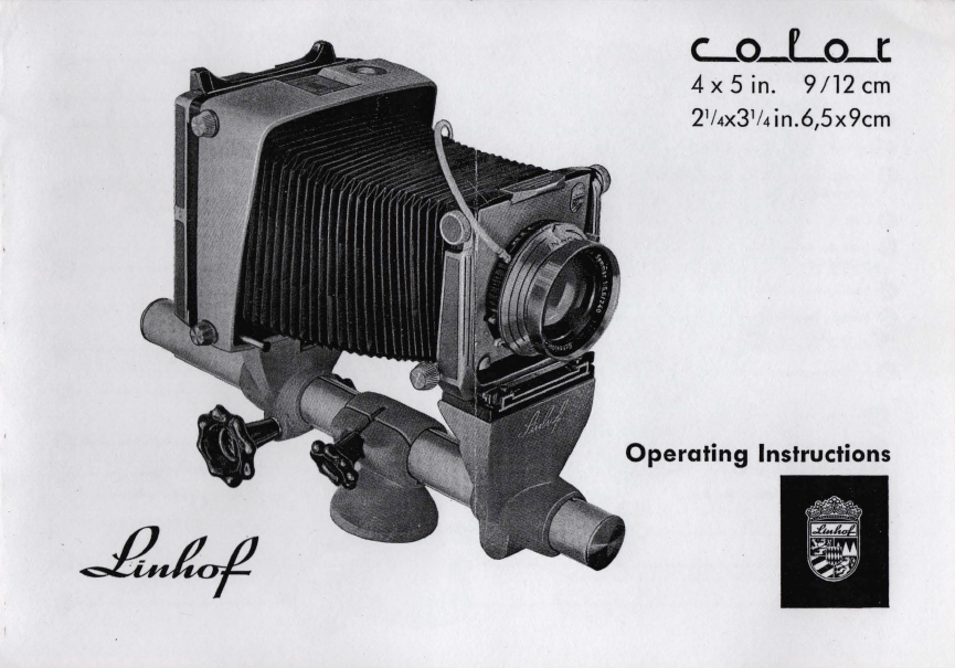 Operating Instructions Linhof Kardan Color 4x5 (English)