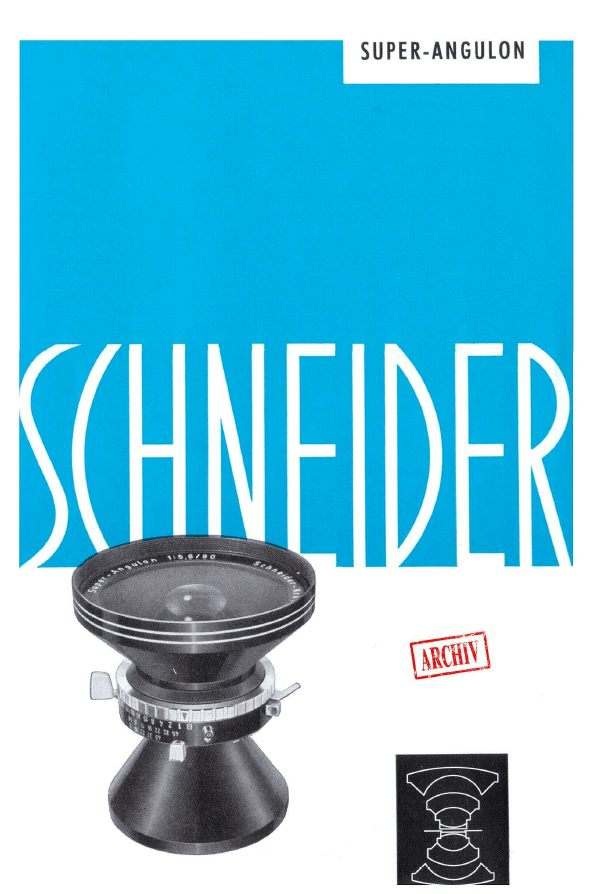 Katalog Schneider Kreuznach Super-Angulon 1970