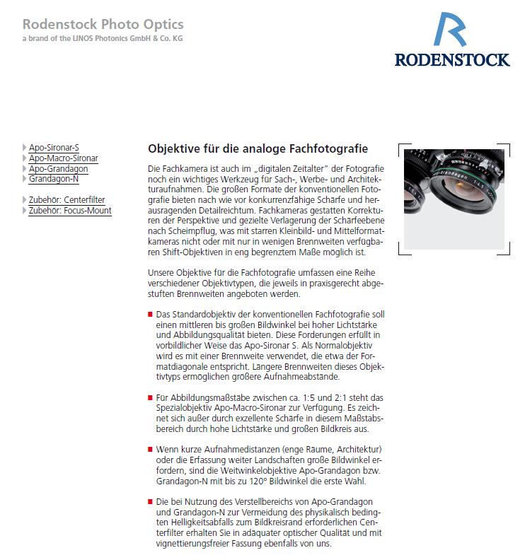 Prospect Rodenstock analog objective, Rodenstock Großformatobjektive, Grandagon, APO Sironar