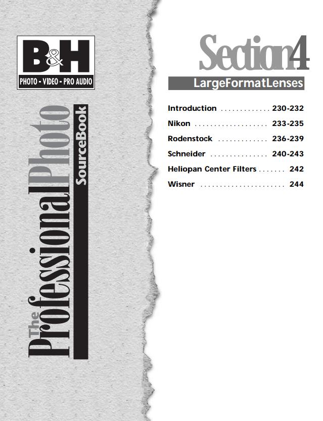B&H Katalog Großformatfotografie Large format objectiv